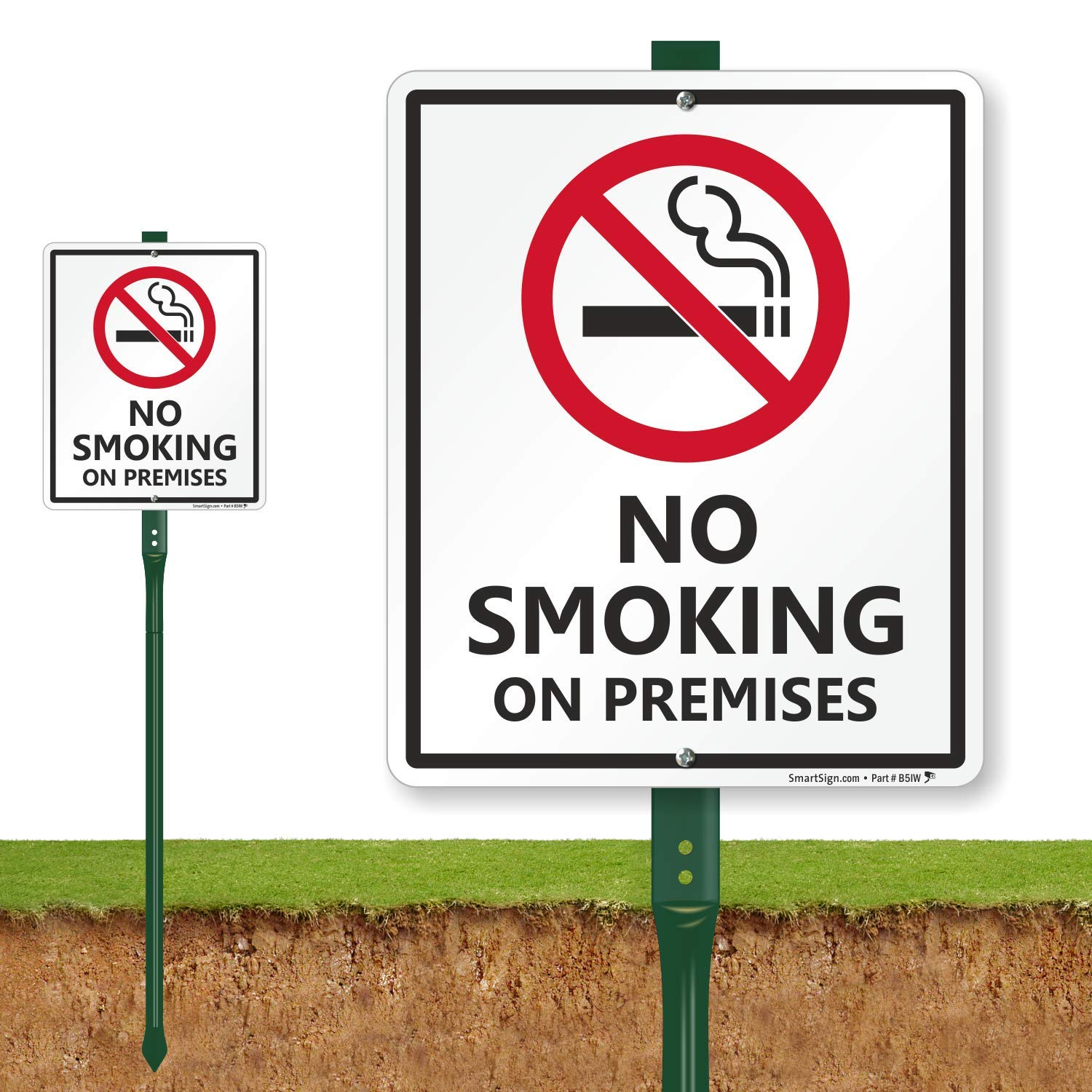 SmartSign ''No Smoking on Premises'' LawnBoss Sign | 10'' x 12'' Aluminum Sign With 3' Stake