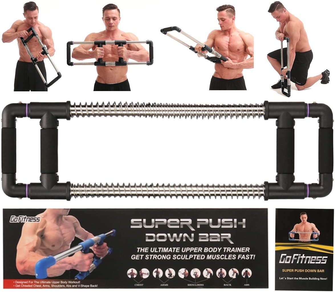 GoFitness Push Down Bar Machine - Chest Expander at Home Workout Equipment - Portable Spring Resistance Exercise Gym Kit for Home, Travel or Outdoors : Sports & Outdoors