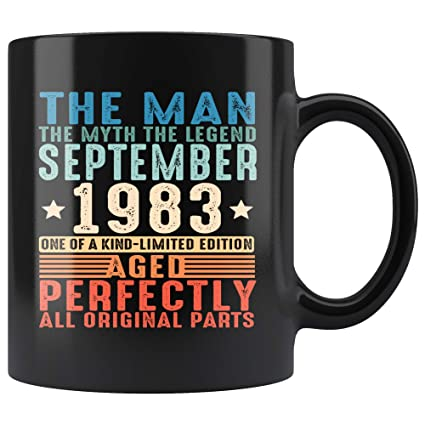 1983 September 35th Birthday Gifts The Man Myth Legend Black 35 Years Old Coffee