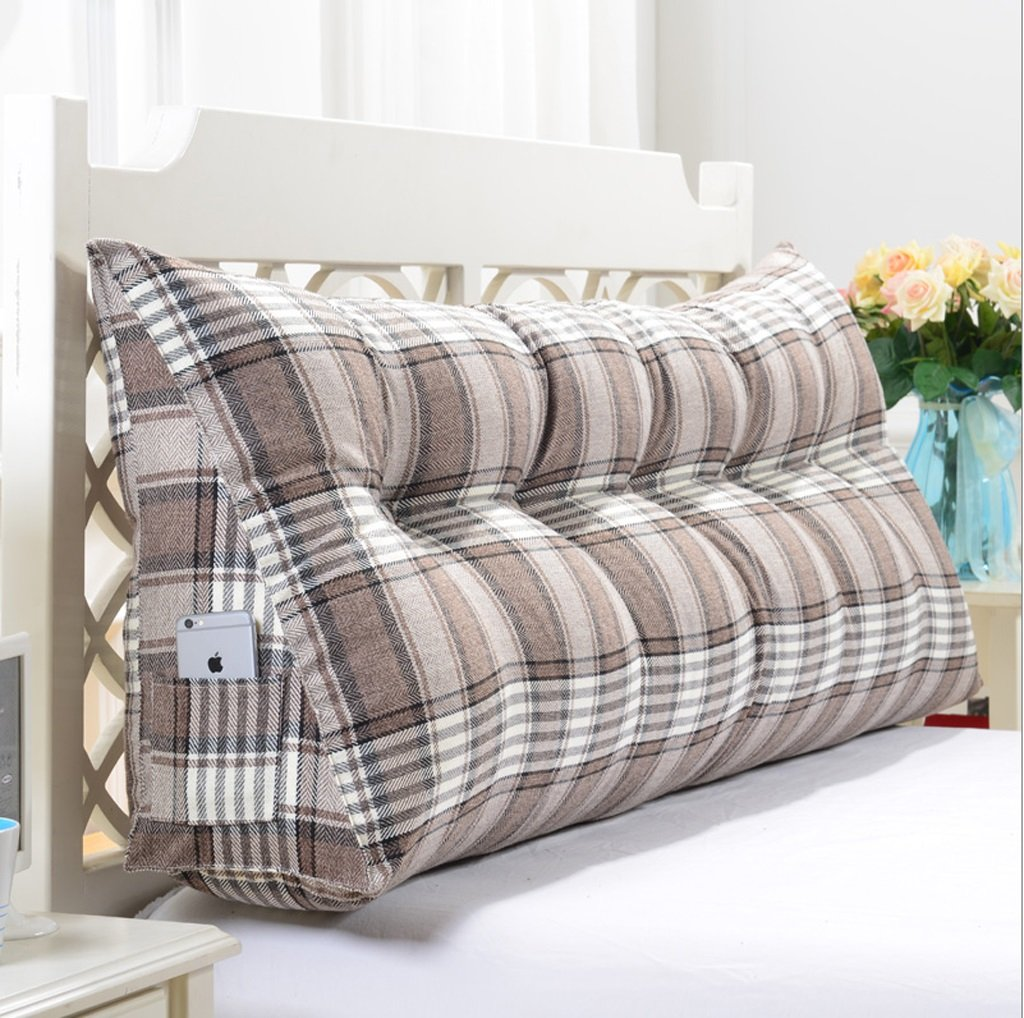 Linen Triangle Cushion Stripe Soft Package Bed Back Pad Size Diverse Optional ( Color : A , Size : 18050cm )