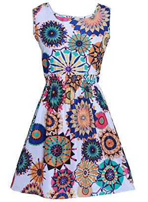 X-Future Women's Summer Sleeveless Printing Chiffon Beach Tank Dress No.2 US XL