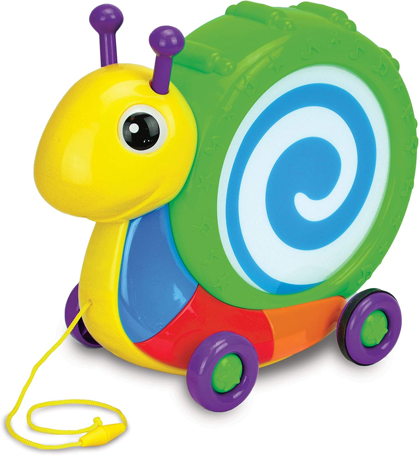 Janod Pull Along Snail Classic Early Learning Toy Ages 1+ Years Wooden 2-in1 Musical Instrument and Push and Pull Develops Fine Motor Skills Encourages Babies and Toddlers to Walk