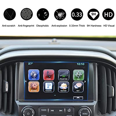Compatible with 2015-2020 Chevrolet Colorado Suburban Tahoe 8 Inch Mylink Car Navigation Screen Protector, HeyMoly Scratch-Resistant Ultra HD in-Dash Clear Tempered Glass Screen 9H Hardness 0.33mm: GPS & Navigation