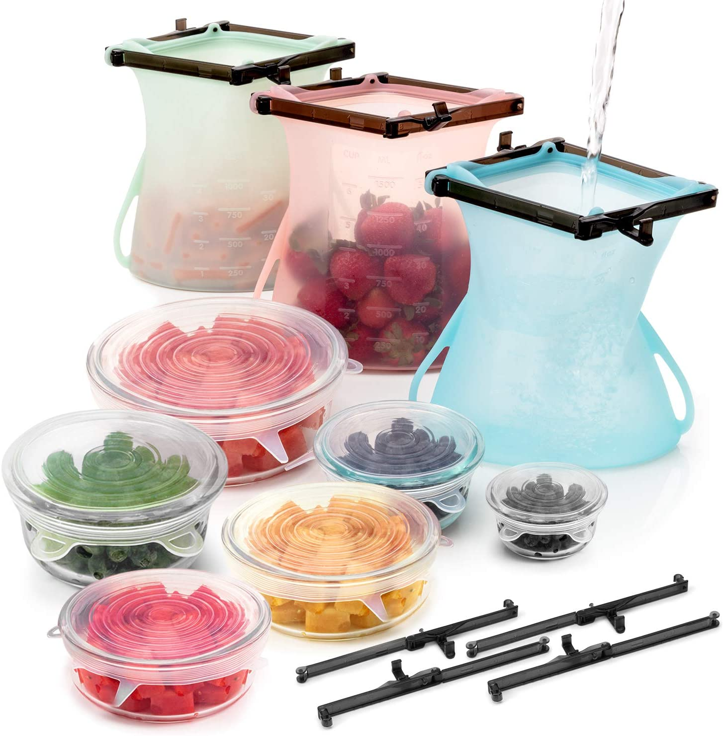 Reusable Silicone Bags for Food Storage - 3 x 1.5L (51oz) Silicone Food Storage Bags + 6 Stretch Lids Bowl Covers to Lock in Freshness + 2 Bonus Sealer Clips - Freezer, Microwave & Dishwasher Safe