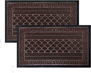 2 Pack Door Floor Mat, Durable Doormat, Entryway Welcome Mats with Anti-Slip Backing for Shoe Scraper, Easy Clean Indoor Outdoor Mats for High Traffic Areas, Entry, Garage, Patio, 30