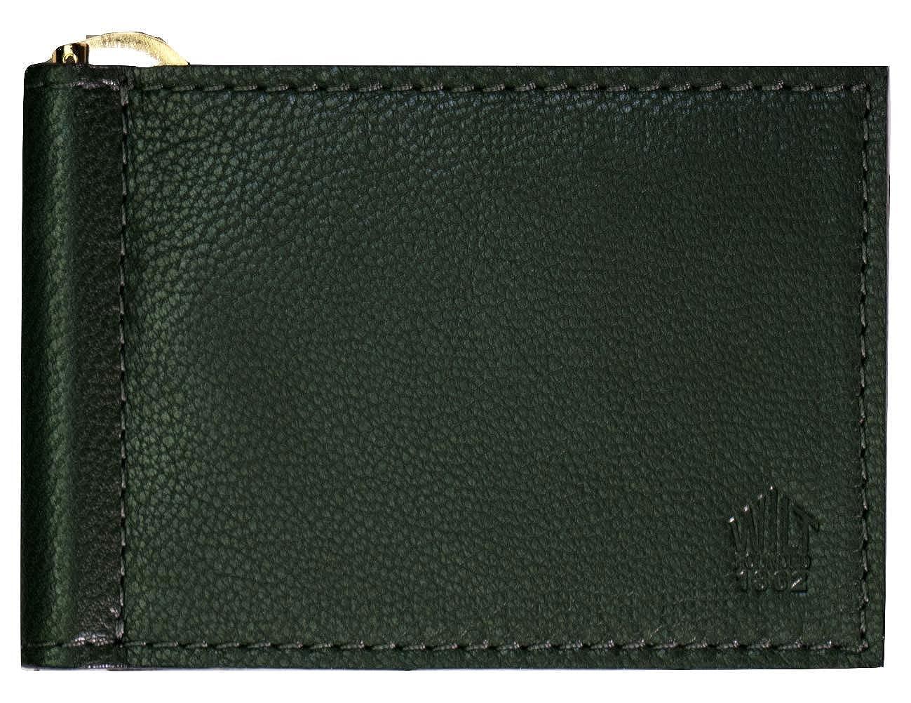 Wilt 1862 Hunter Green Wabash Leather Money Clip Card Wallet
