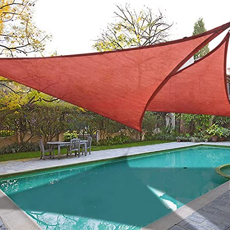 Yescom 2X 16.5 Triangle Sun Shade Sail Patio Deck Beach Garden Yard Outdoor Canopy Cover UV Blocking Dark Red