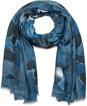 6d12a7715ef498 styleBREAKER Châle pour femme avec motif à cœurs et franges, écharpe  d'hiver,