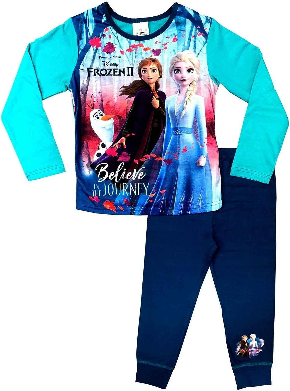 Set di 2 Pigiama da Bambina Frozen Anna /& Elsa Pjs dai 4 ai 10 Anni