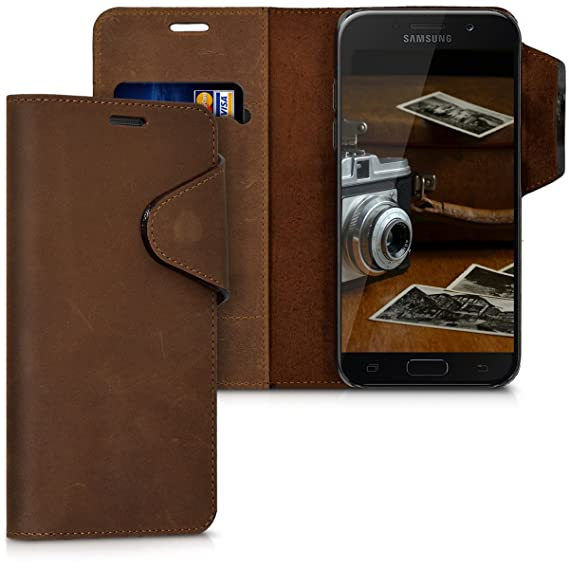 premium selection f12ba 6cd22 kalibri Wallet Case for Samsung Galaxy A5 (2017) - Genuine Leather Book  Style Protective Cover with Card Slot - Brown