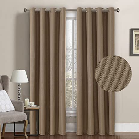 H.Versailtex Room Darkening Thermal Insulated Textured Linen Look Curtains  For Bedroom/Living Room