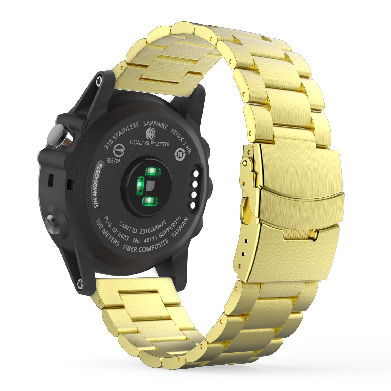 MoKo Garmin Fenix 3 SmartWatch Correa de Acero Inoxidable Metal Reemplazo Link Bracelete con Hebilla Plegable de Doble Botón - Oro