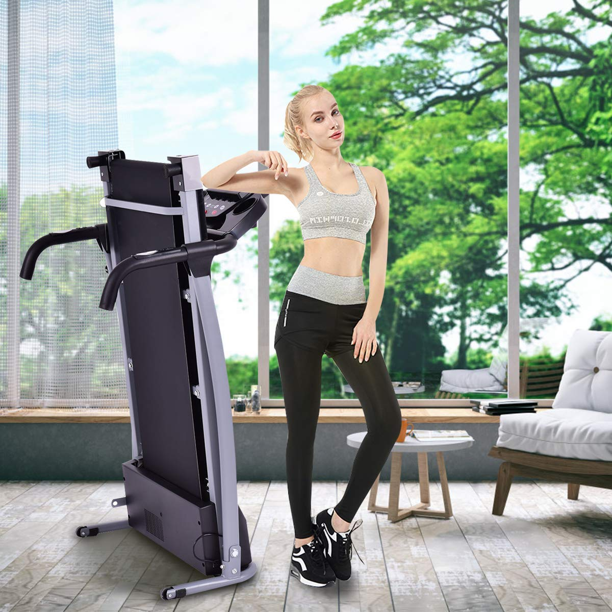 GYMAX Folding Exercise Treadmill Fitness Electric Treadmill Electric Motorized Power Fitness Running Machine 800W W/IPAD Mobile Phone Holder (Black) by GYMAX (Image #4)