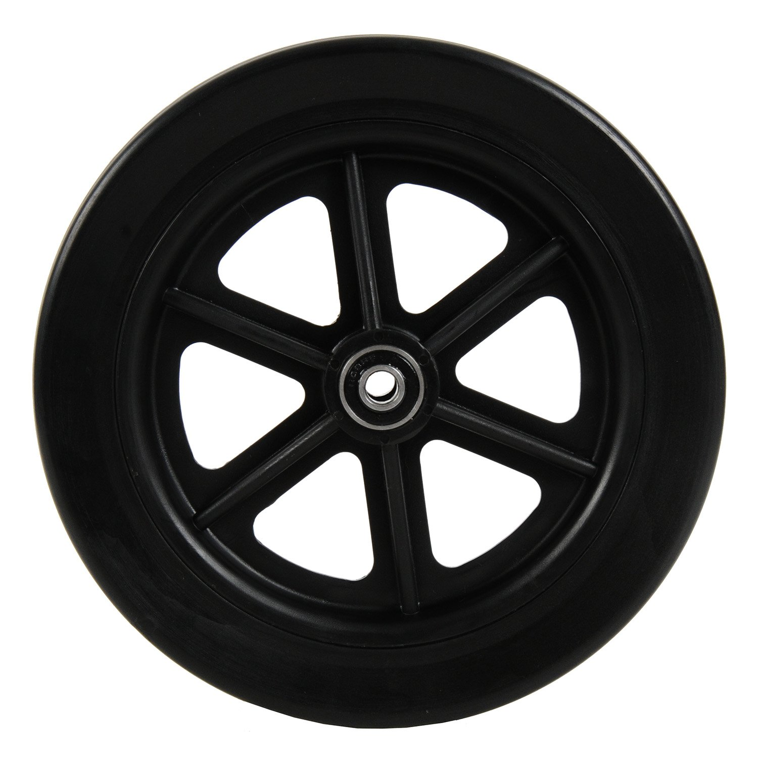 7 inch by 1 inch Black Replacement Wheel for Swivelmate Knee Walker, Wheelchairs, Rollators, Walking Frames and More, 7'' by 1'' Solid Flat Free Black Caster.