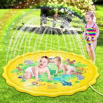 Sooair Splash Pad, 170CM Tapete de Juegos de Agua, Almohadilla Aspersor de Juego Agua, Juguete para Niños para Actividades al Aire Libre y Aire Libre Fiesta Playa Jardín (Amarillo): Amazon.es: Juguetes y