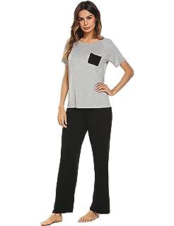 047c4330f651 Ekouaer Womens Cotton Pjs Short Sleeve Round Neck Pajama Set Sleepwear