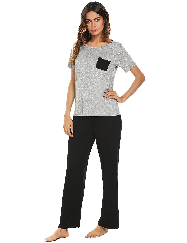 053c05fb1b Ekouaer Womens 2 Piece Short Sleeve Pajama Set with Long Pants Sleepwear at  Amazon Women s Clothing store