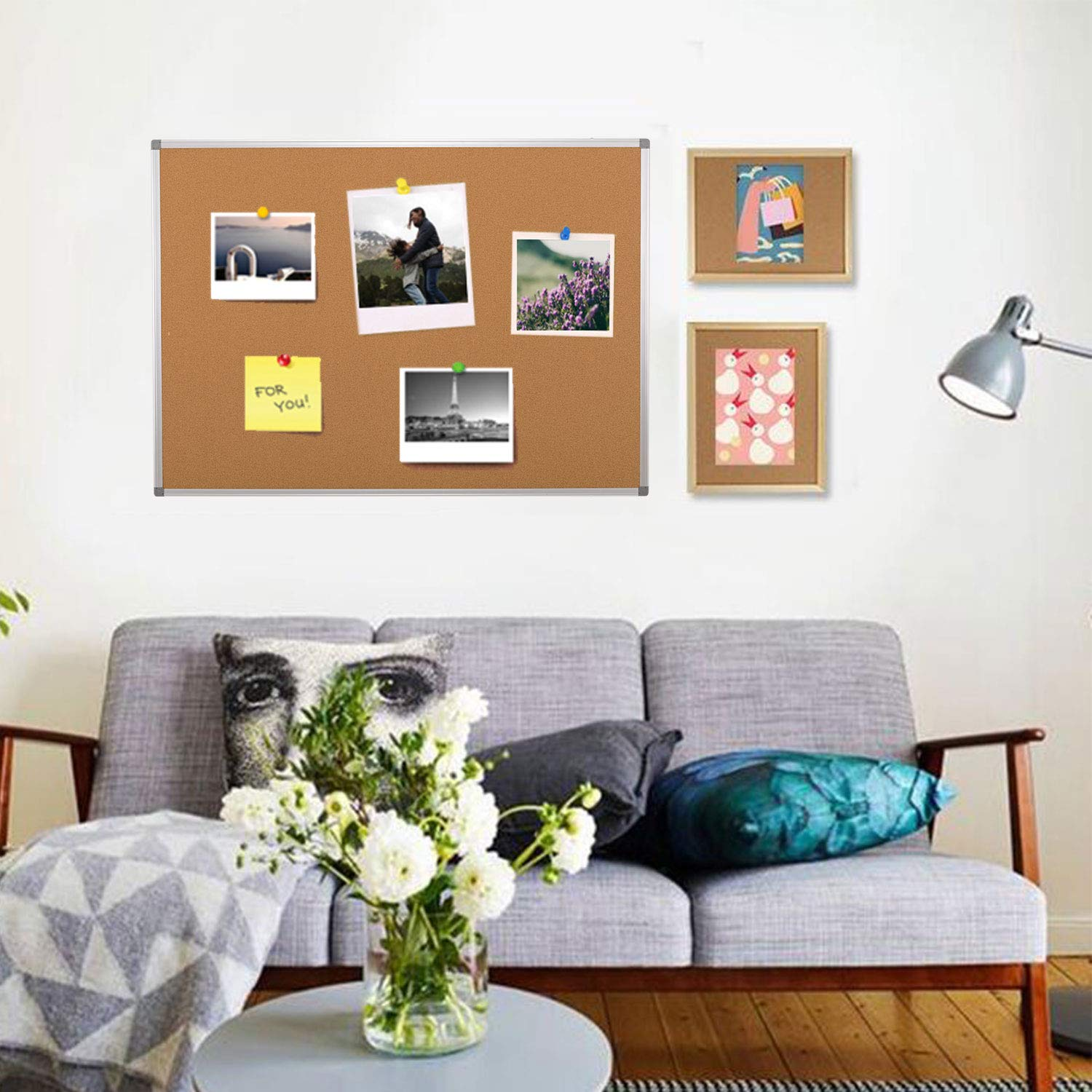 Swansea Big Cork Boards Home Pin Boards Office Notice Board A1 Display Boards with Fixing Kit 90x60cm