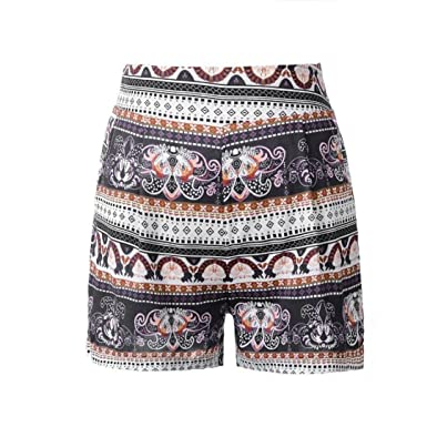 aa2fd3be1b Amazon.com: Inkach - Womens Casual Shorts - Elastic Waistband Printed Summer  Beach Short Pants Trousers: Clothing