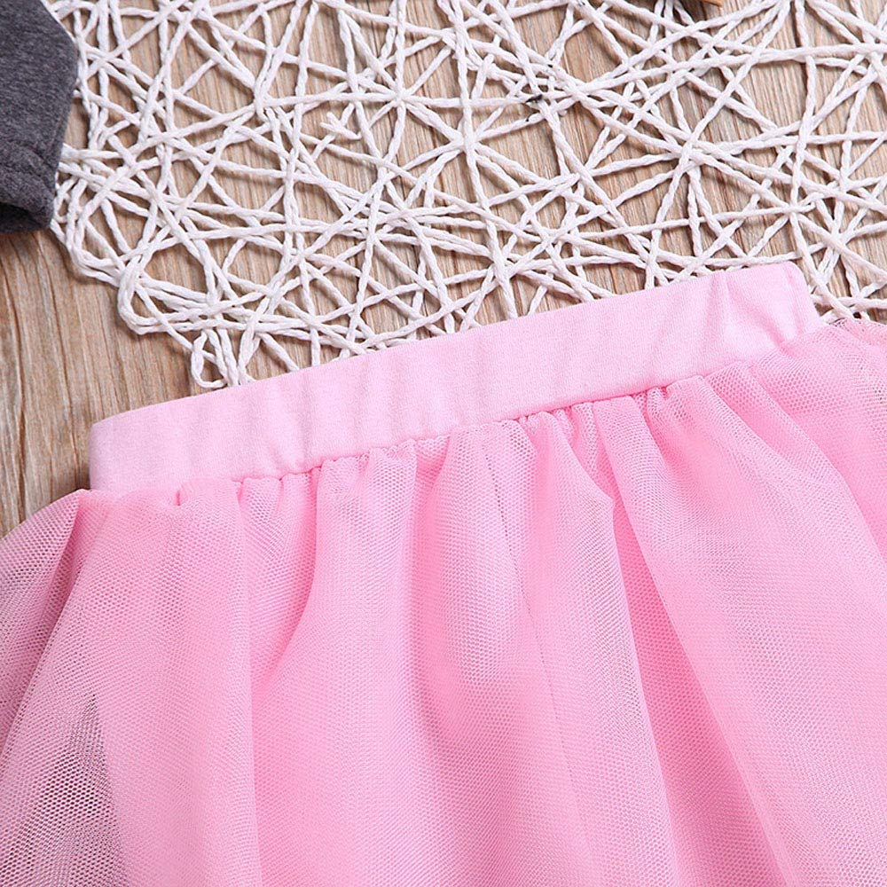 Kobay Babykleidung M/ädchen Winter 2 St/ücke Kleinkind Kleinkind Baby M/ädchen Brief Drucken T-Shirt Tops Tutu Hosen Outfits Set