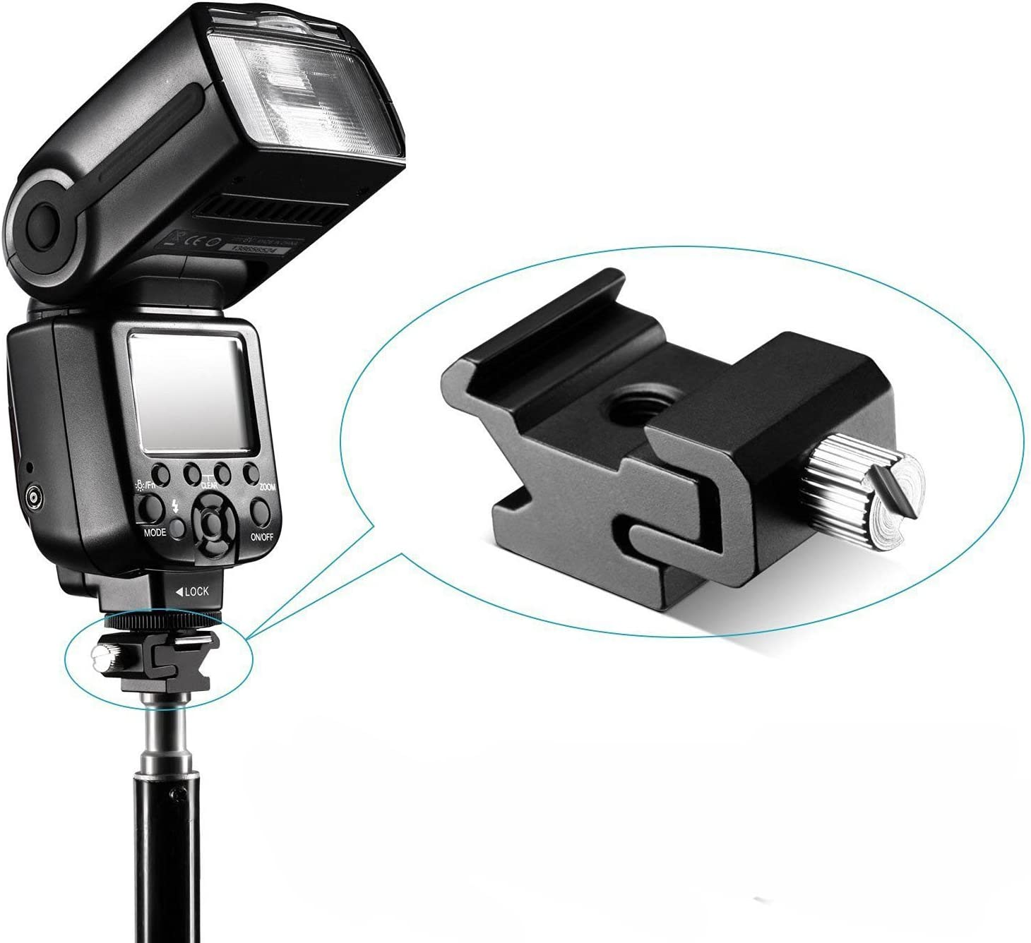 RivenAn 2Pcs Hot Shoe Flash to Bracket Stand Mount Adapter Trigger with 1//4 Female Thread
