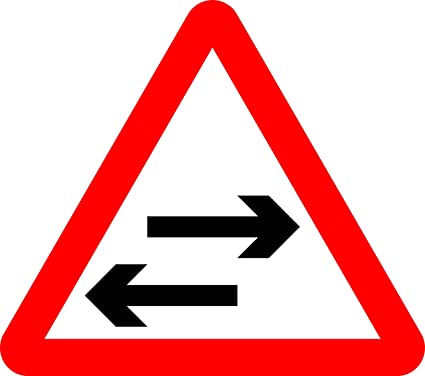 Two-way traffic crosses one-way road Road safety sign - 3mm