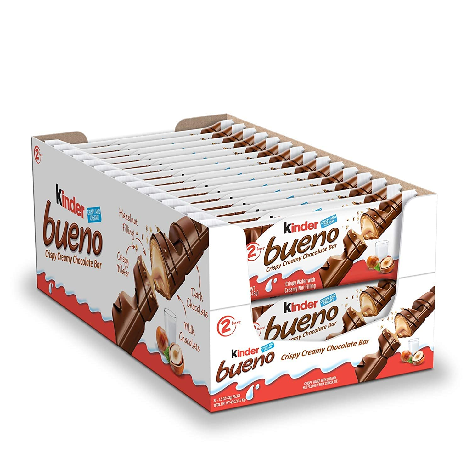 Kinder Bueno Milk Chocolate and Hazelnut Cream Candy Bar, 30 Packs, 2 Individually Wrapped 1.5 Oz Bars Per Pack