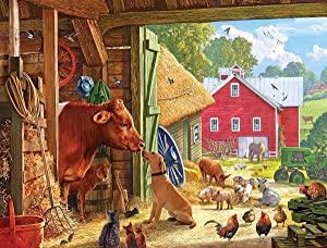 HJAA DIY 5D Diamond Painting Kit for Adults and Kids, Cow Dog Cat Animals Round Full Drill Embroidery Cross Stitch Arts Craft Canvas Supply for Home Wall Decor,Farm(16x12inch)