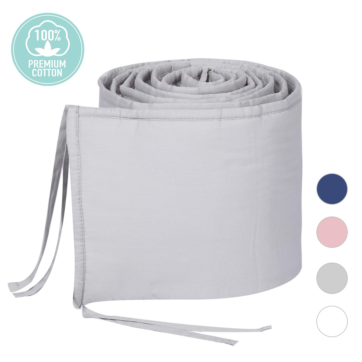TILLYOU Cotton Collection No-Gap Nursery Mini Crib Bumper Pads for Babies 24x38, Ultra Soft & Machine Washable Padded Crib Liner for Portable Cribs, 1-Piece Safe Crib Padding Protector, Pale Gray