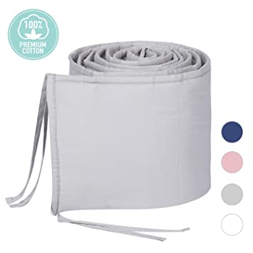 TILLYOU Cotton Collection Breathable Mini Crib Bumper Pads for Babies 24x38 /&