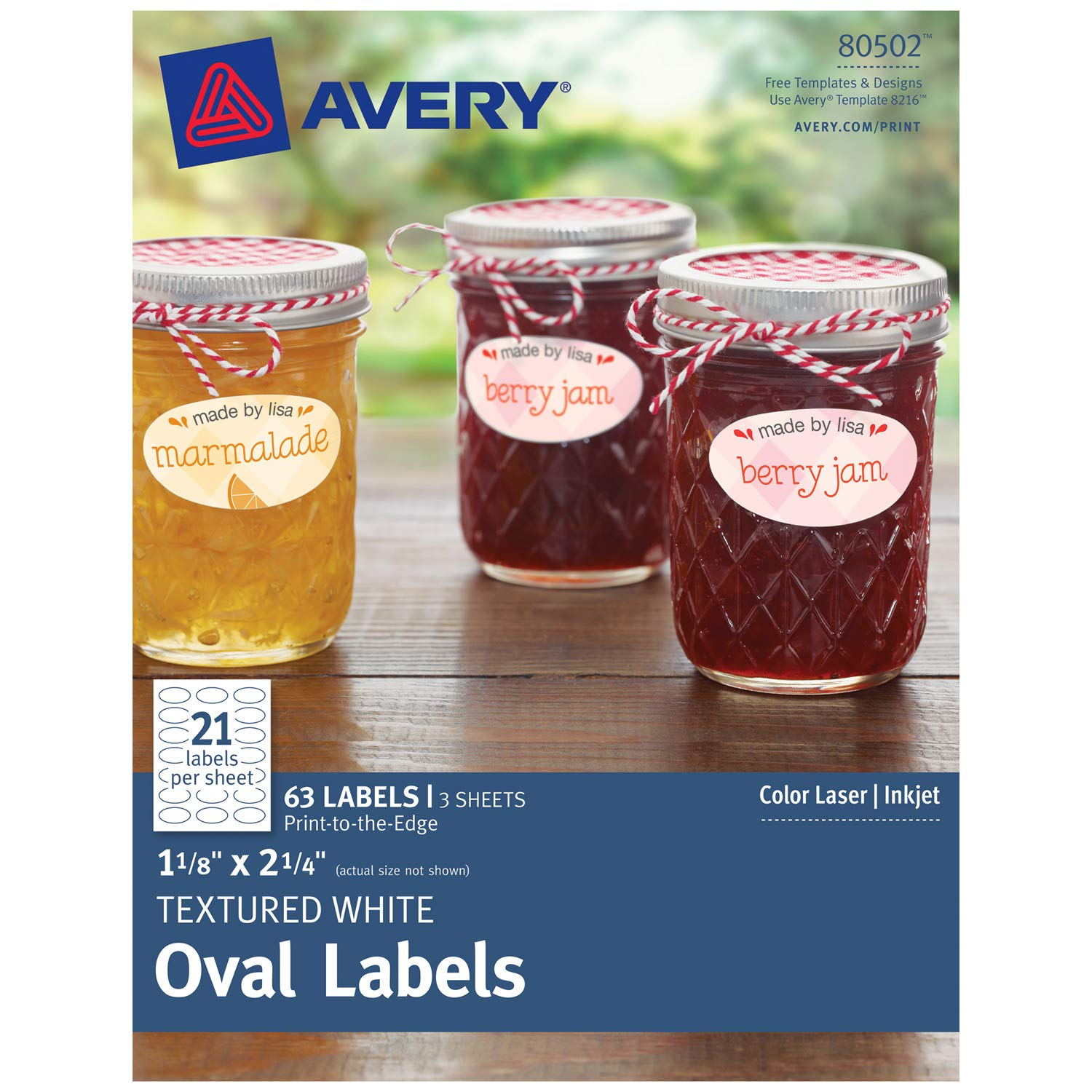 """Avery Oval Labels for Laser & Inkjet Printers, 1-1/8"""" x 2-1/4"""", 63 Textured Matte White Labels (80502)"""