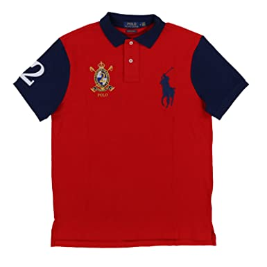 f8cf3eafb021 Polo Ralph Lauren Men s Big Pony Crest Custom Slim Fit Mesh Polo Shirt (XX-