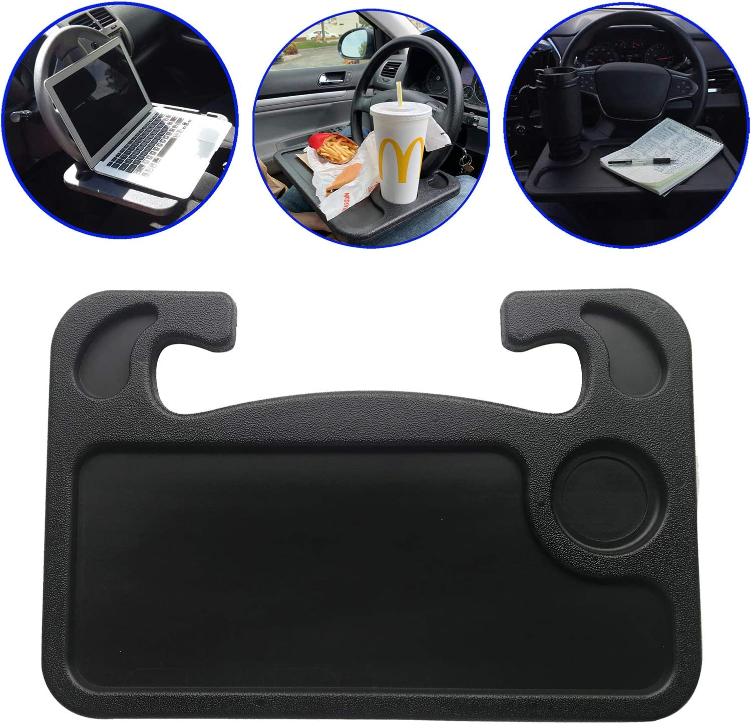 CHARMCHIC Steering Wheel Tray for Car Truck,Portable Laptop Table Desk for Eating Food,Reading,Makeup, Notebook and Phone Mount (Black)