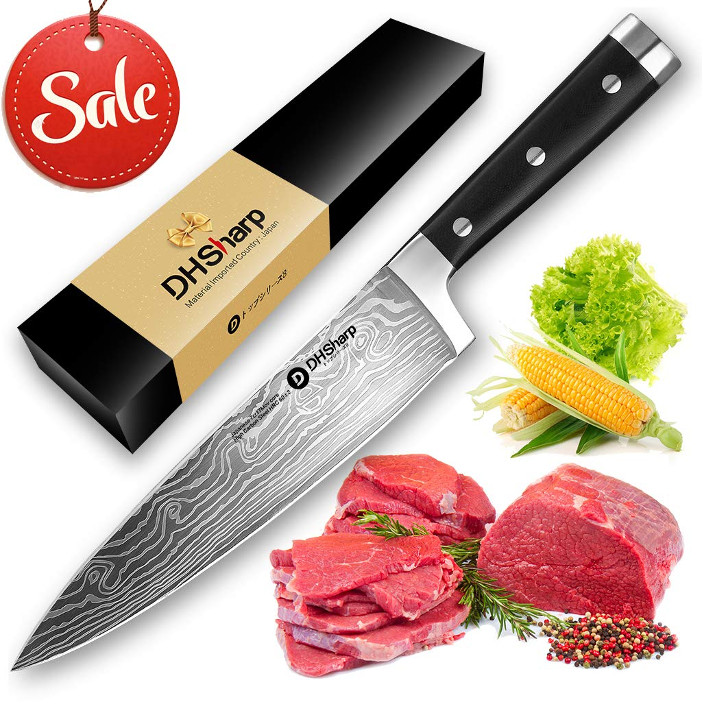 Professional Kitchen Chef Knife 8 inch Japanese High Carbon Stainless Steel Sushi Knife with Ergonomic Handle by TooSharp (Image #1)