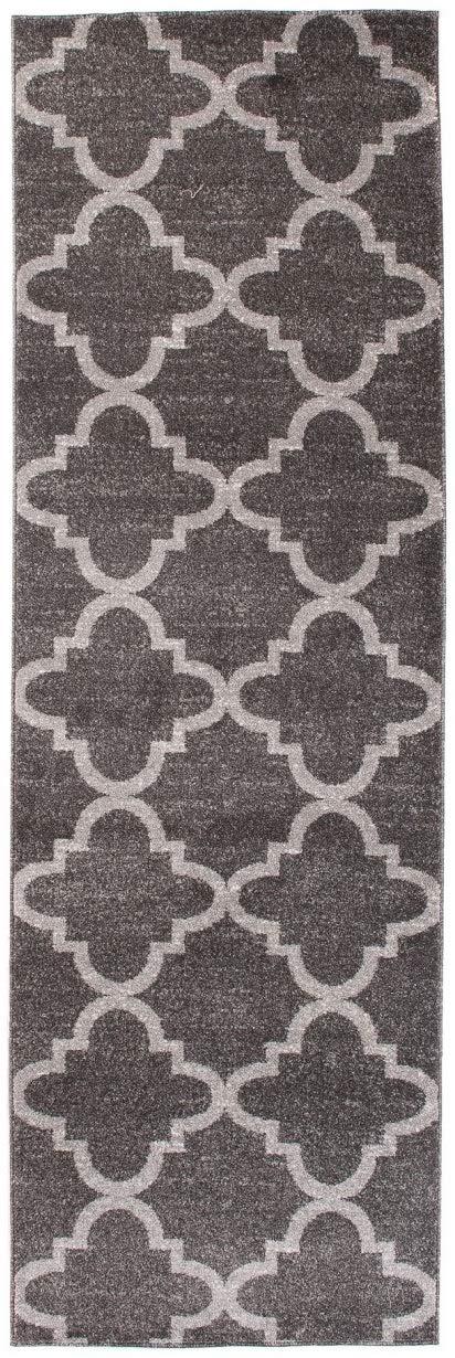 Tapiso LÄUFER MODERN BRÜCKE Flur Teppich - Muster MAROKKANISCH GRAU - Calm Kollektion 100 x 400 cm