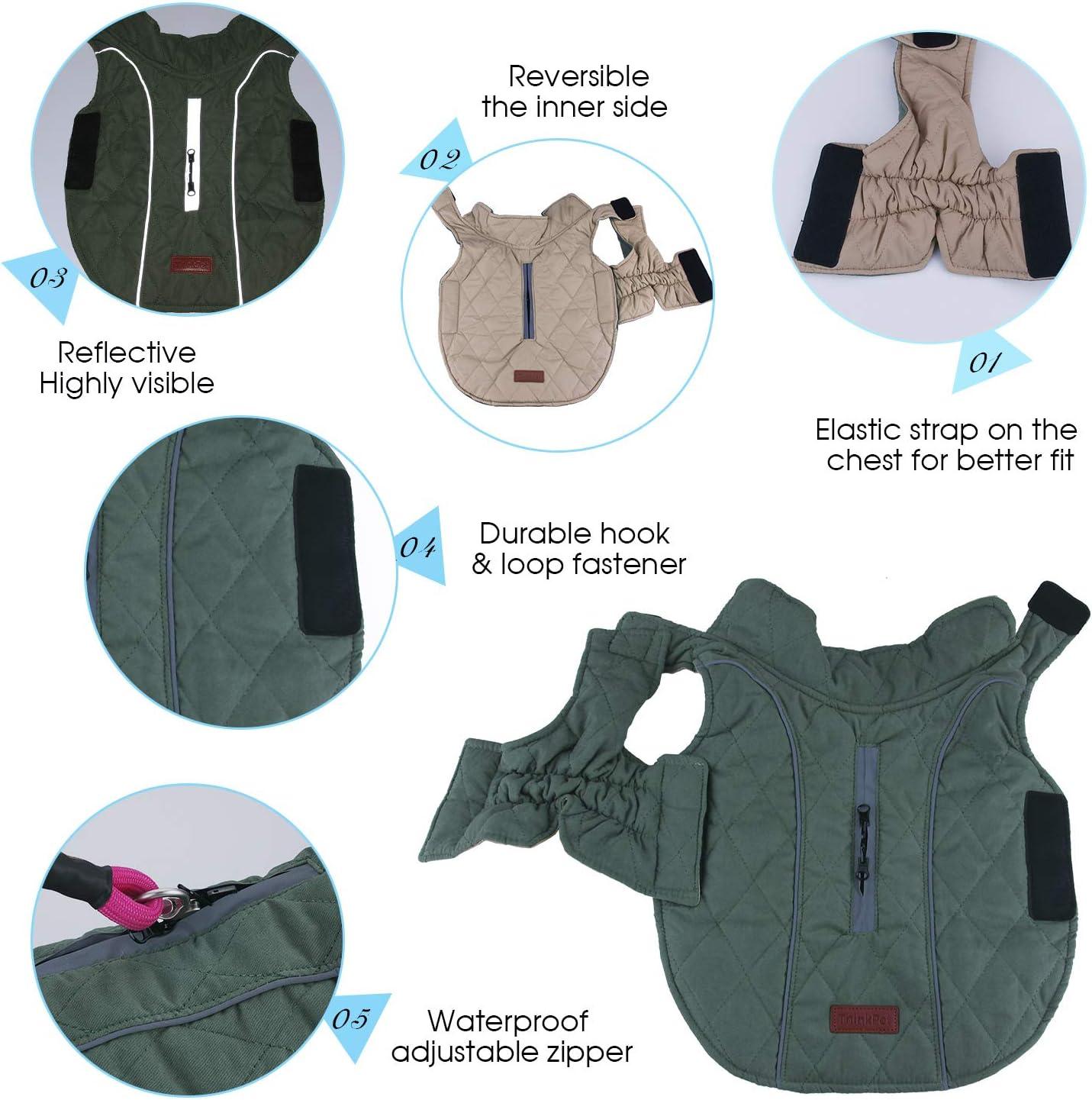 Thick Padded Comfortable Winter Dog Jacket ThinkPet Warm Reversible Dog Coat Reflective Safey Dog Vest L Blue