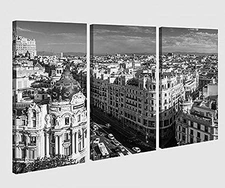 RomantiassLu Calle de 3 Piezas Madrid España Skyline Negro Blanco Imagen Imagen Lienzo Lienzo Imágenes Madera Mural Multi sin Marco: Amazon.es: Hogar