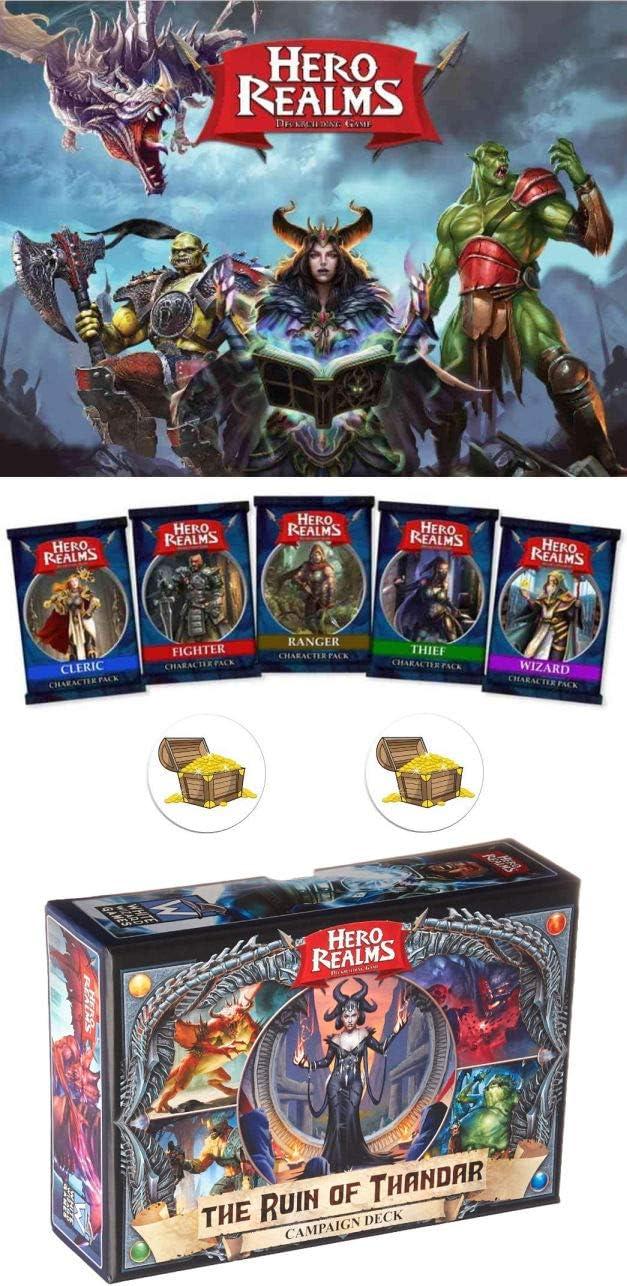 Hero Realms Bundle of Base Game, All 5 Custom Hero Decks, The Ruin of Thandar Plus 2 Treasure Chest Buttons