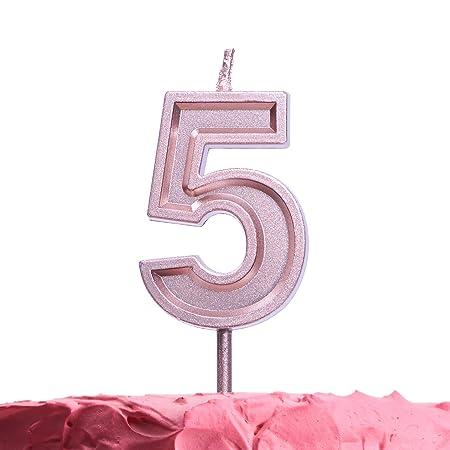 Get Fresh Velas de cumpleaños de 5 años, vela, oro rosa ...
