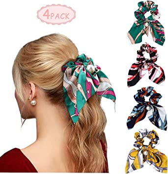 12 Pcs Girls Elastic Hair Bands Bowknot Flower Ponytail Ties Hair Accessories