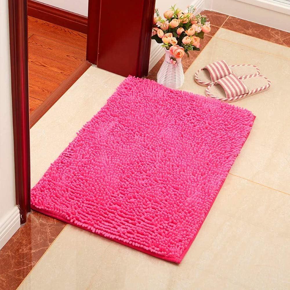 Suave y acogedora Agua s/úper Absorbente Antideslizante Gruesa para Dormitorio de ba/ño YIQI Alfombra de ba/ño de Felpa de Microfibra de Chenilla 60x40 cm, Rosa roja
