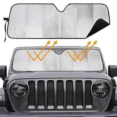 Big Hippo Windshield Sun Shade for 2007-2020 Jeep Wrangler Rubicon Sahara TJ JK JKU 2 & 4 Door-Blocks UV Rays Sun Visor Protector,Car Sun Shade Keep Your Vehicle Cool,Car Window Shade: Automotive