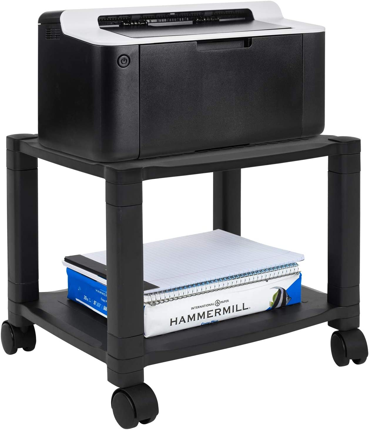 MOUNT-IT! Under Desk Printer/Fax Stand [2 Shelf] Height Adjustable with 4 Swivel Wheels, Cable Management, Low Rolling, Mobile Printer Cart, 2 Tier (Black)