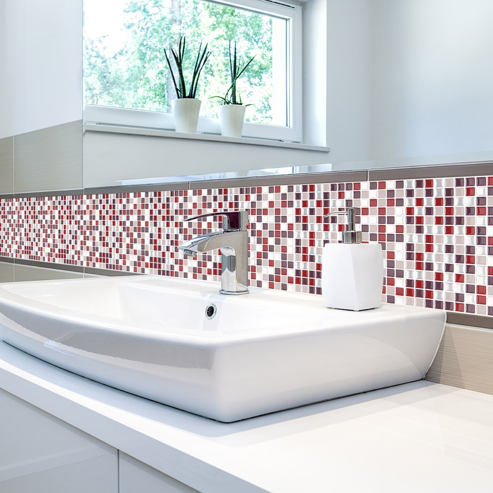 Amazon.com: FARONZE Kitchen Mosaic Wall Tiles Peel Stick Self ...
