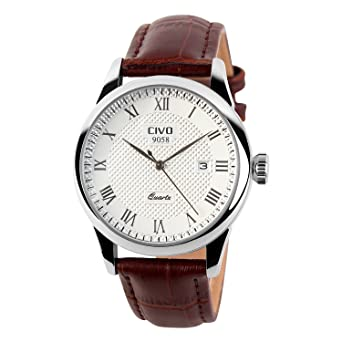 civo men s luxury brown genuine leather band date calendar wrist civo men s luxury brown genuine leather band date calendar wrist watch mens casual business analogue quartz