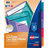 Avery 5-Tab Plastic Binder Dividers with Pockets, Insertable Multicolor Big Tabs, Two-Tone, 1 Set (11982)