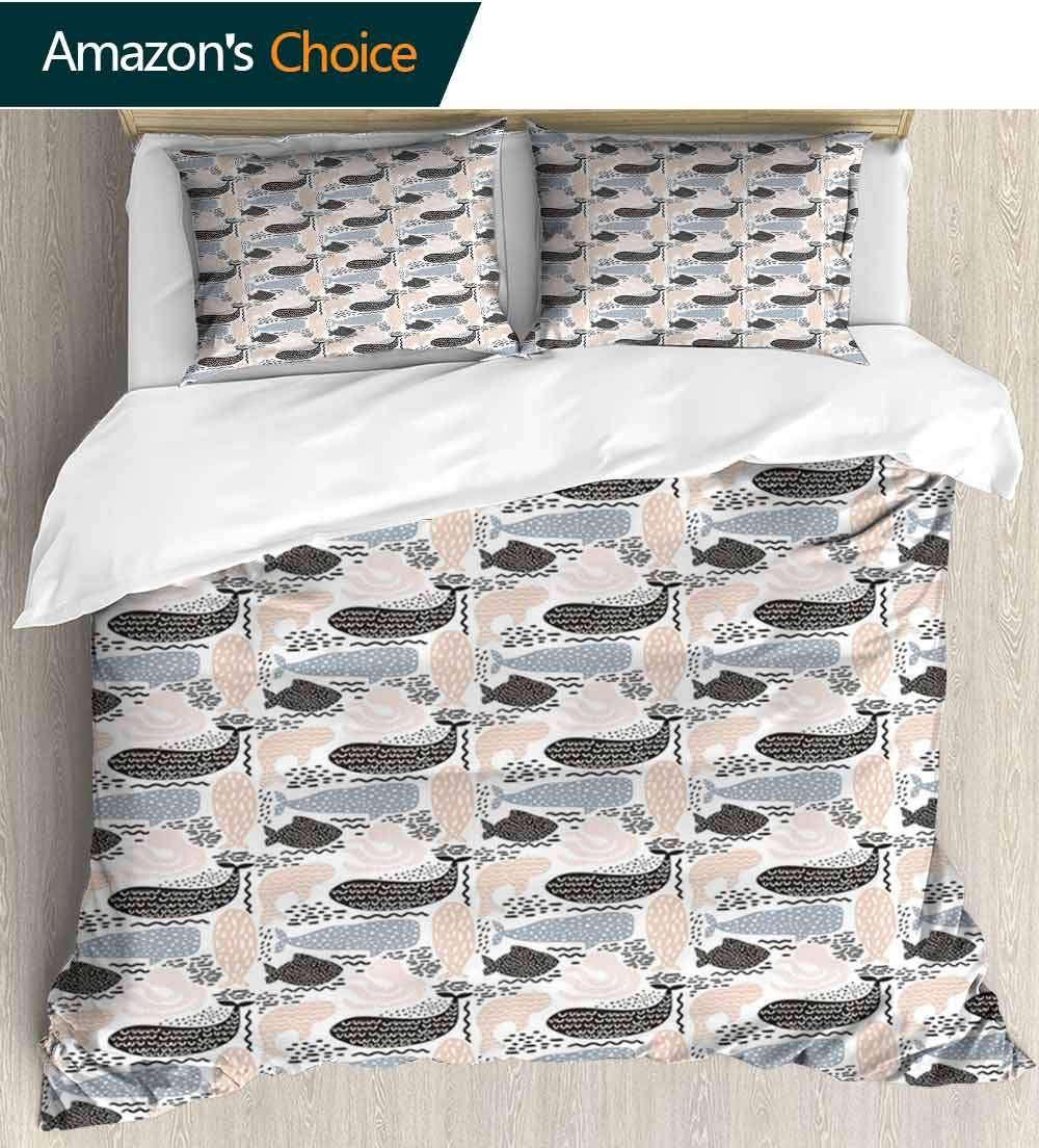 Whale 3D Bedding Quilt Set, Animal Silhouettes with Different Designs Curved Lines Dots and Chevrons Reversible Coverlet, Bedspread, Gifts for Girls Women(68''W x 85''L) Slate Blue Peach Black