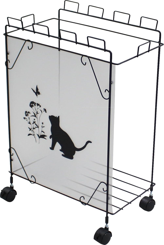 レジ袋やビニール袋で気軽に資源ごみ分別収集黒猫モチーフ ダストボックス (小) B00OYL5X8K 小 小