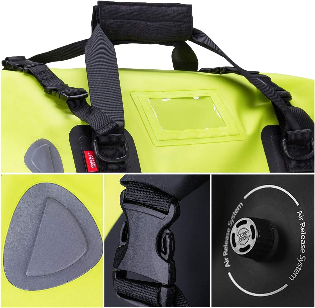 Motocicleta 500D PVC Impermeable Reflectante Cola Bolsa Silla Equipaje Accesorios al Aire Libre Verde 40L