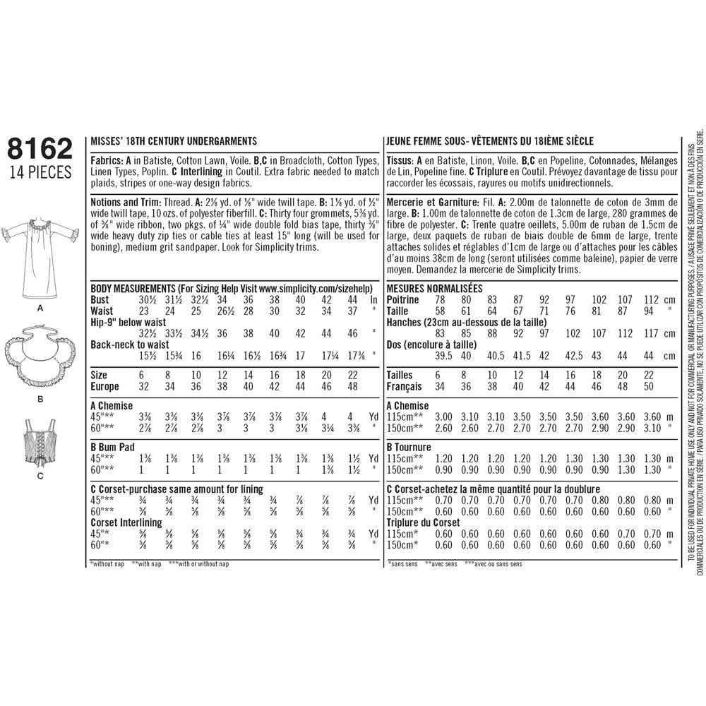 Simplicity Pattern 8162 Misses Siglo XVIII Patrones de Costura Ropa ...